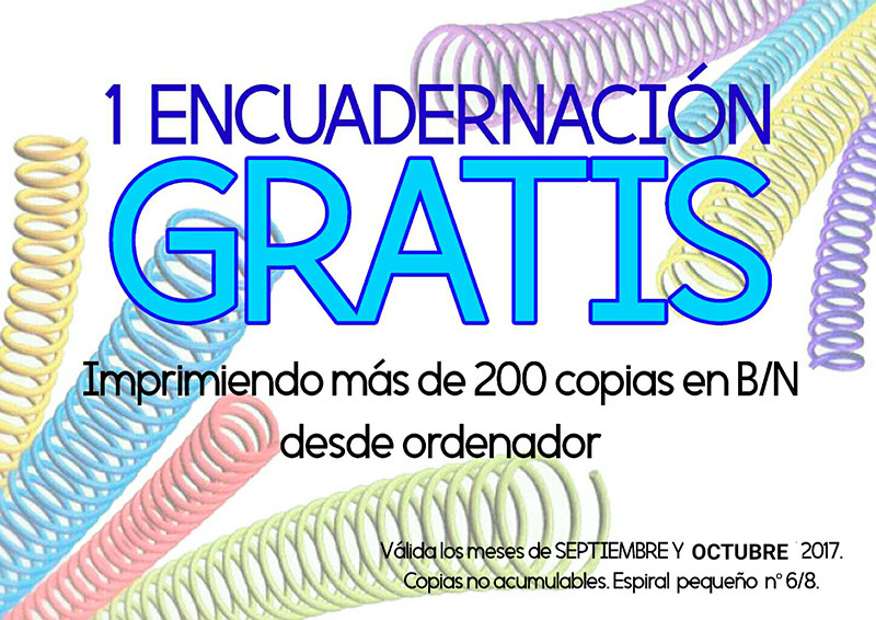 1 encuadernación GRATIS. Promoción septiembre-octubre copistería Copi-Servic Jaén