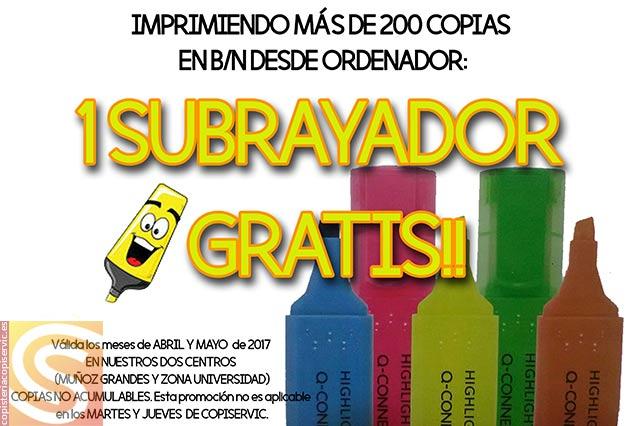 Promoción Copi-Servic subrayador gratis