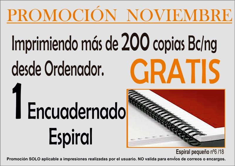 Encuadernación GRATIS promoción noviembre 2018 copistería Copi-Servic