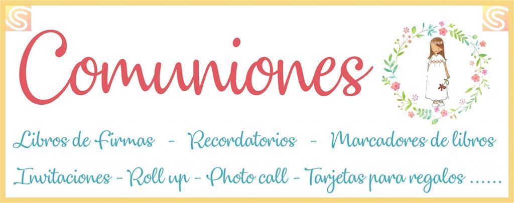 Comuniones en Copi-Servic Jaén: libros de firmas, recordatorios, marcadores de libros, invitaciones, roll-up, photocall, tarjetas para regalo...