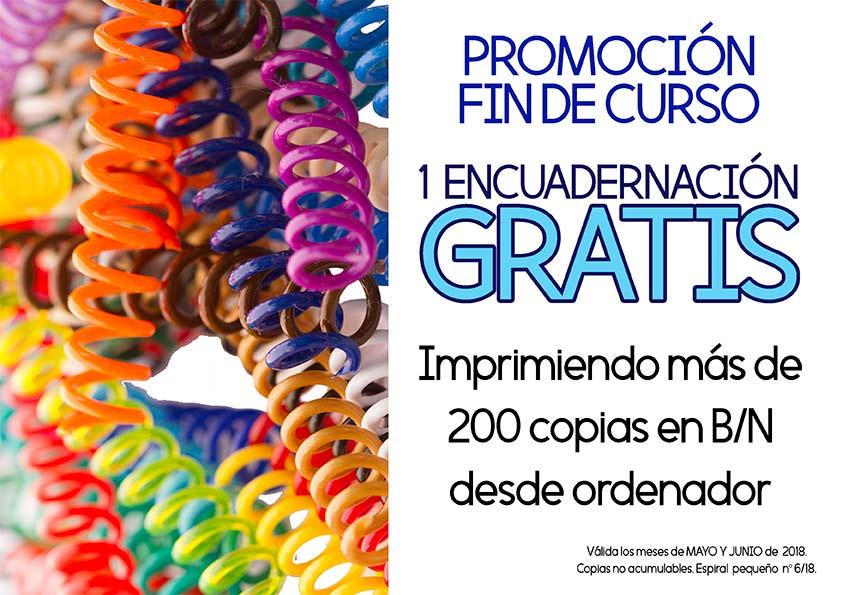 ENCUADERNACIÓN GRATIS promoción mayo-junio 2018 Copistería Copi-Servic